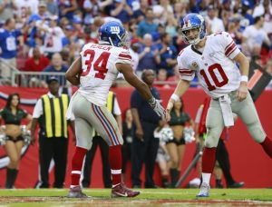 Shane Vereen and Eli Manning, New York Giants (November 8, 2015)