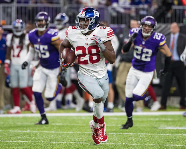 Paul Perkins, New York Giants (October 3, 2016)