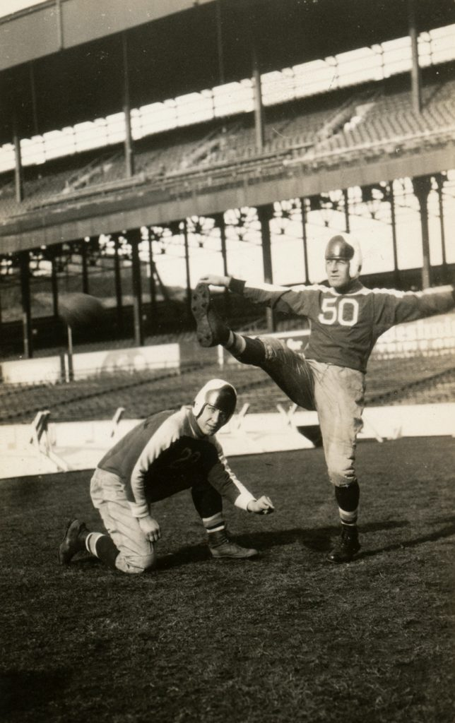 New York Giants Ken Strong Kicking and Bo Molenda Holding in 1934 - Photo Courtesy of Rev. Mike Moran